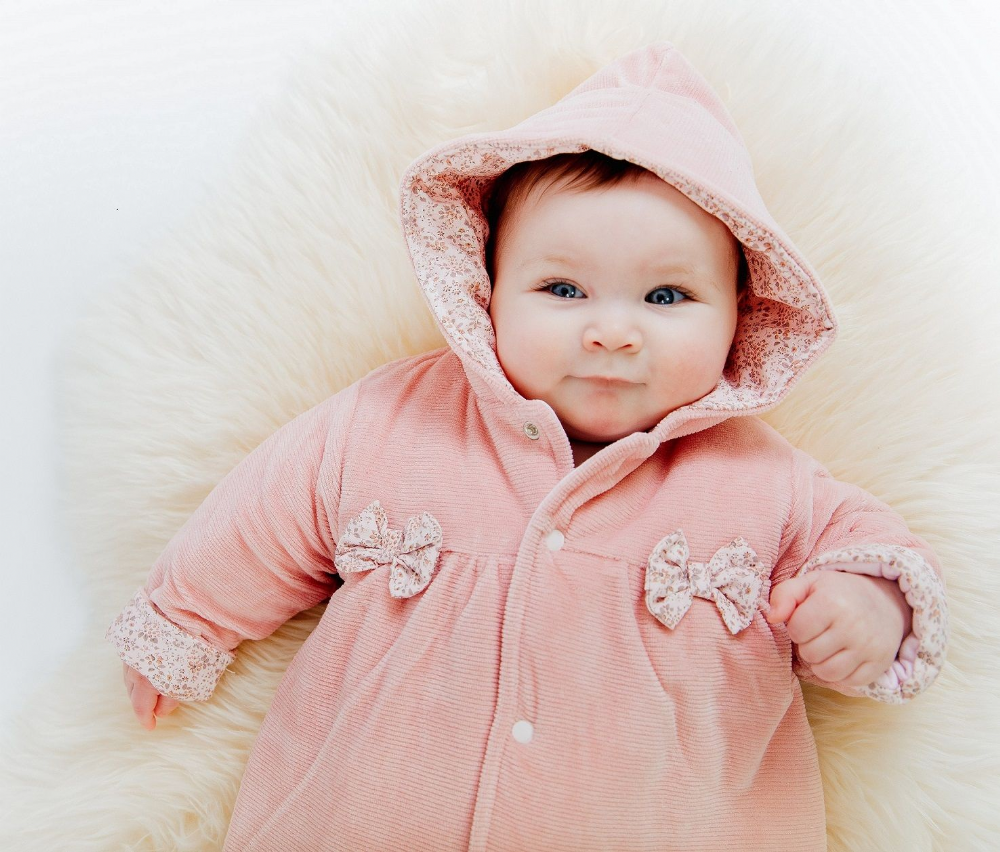 AV2405  Girls  Dusty Pink Velour Pramsuit